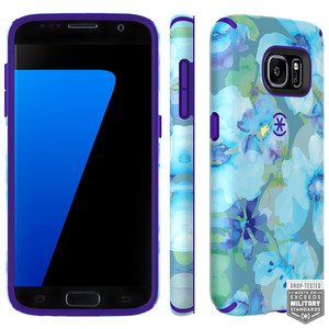 Speck CandyShell Inked - Etui Samsung Galaxy S7 (Aqua Floral Blue/Ultraviolet Purple)
